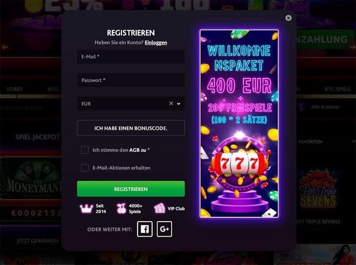 Wie registriert man sich im 7Bit Casino?