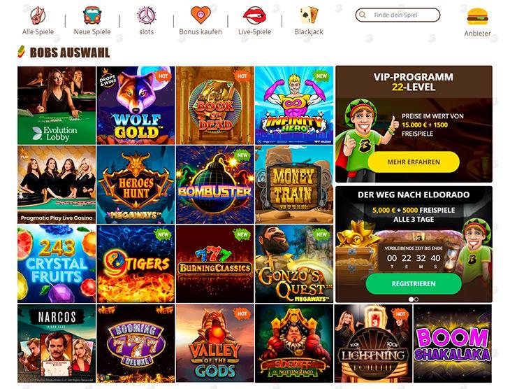 Wie gestaltet sich das Sortiment an Online Slots im Bob Casino?