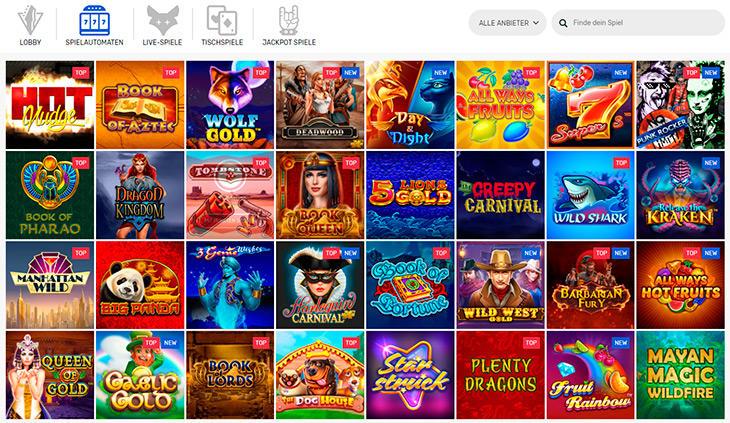 Welche Spielautomaten gibt es im Crazy Fox?