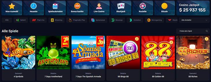 Welche Spielautomaten gibt es im Woo Casino überhaupt?