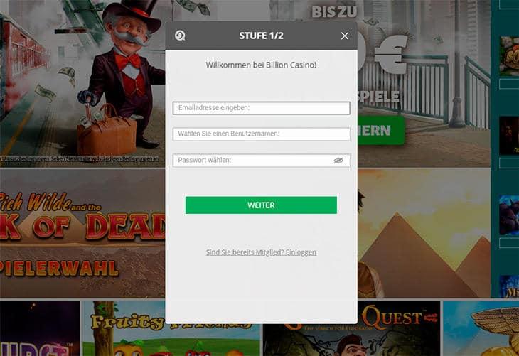 Wie gestaltet sich die Registrierung im Billion Casino?