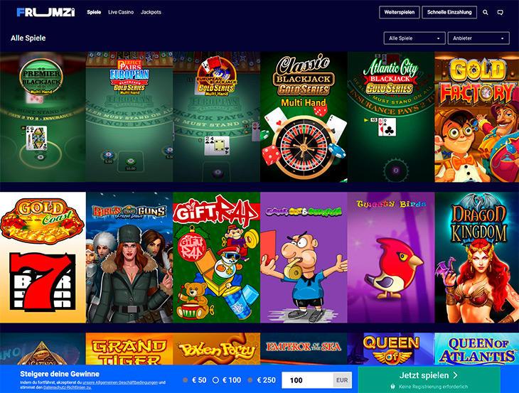 Welche Online Slots findet man bei Frumzi?