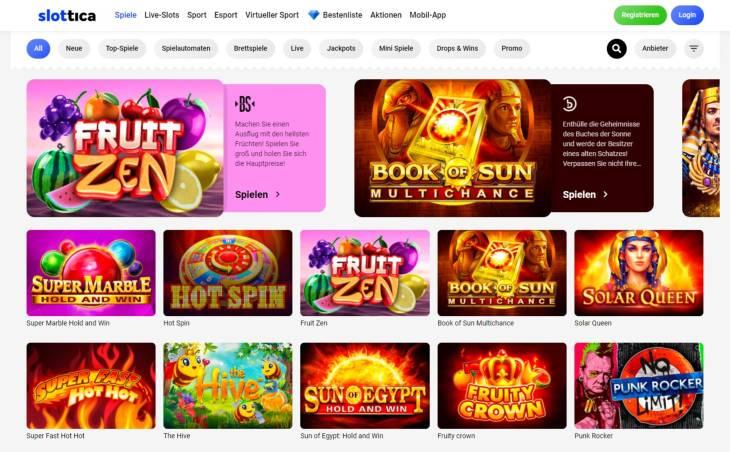 Welche Online Spielautomaten kann man bei Slottica finden?