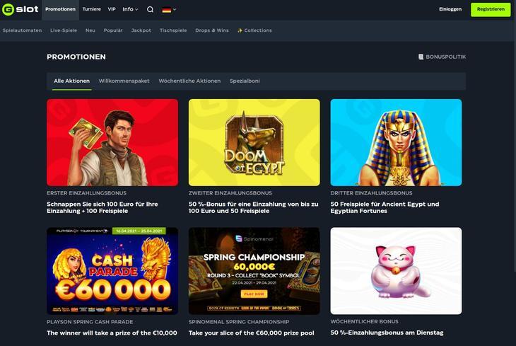 GSlot Online Casino Willkommensbonus